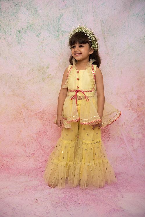 Yellow Sequin Sharara Set