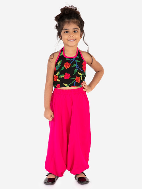 Printed Top with harem pants- Fuchsia