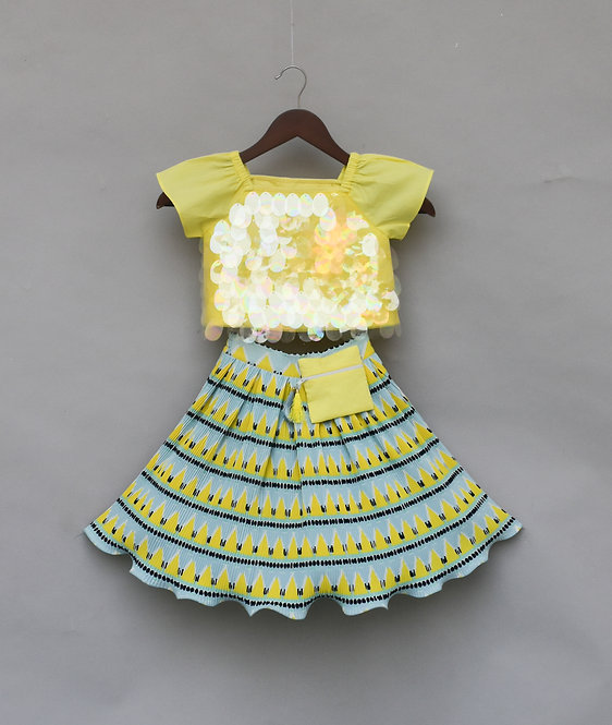 Yellow Sequence Short Sleeves Top with Pleated Skirt