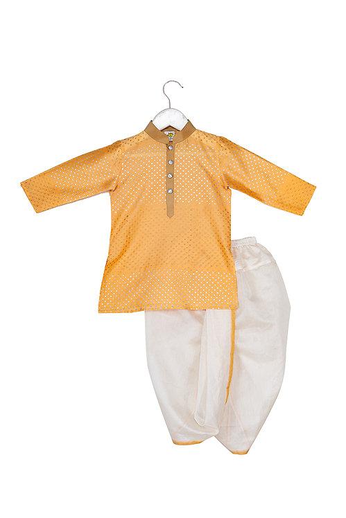 Printed kurta and dhoti set Dual polka Orange