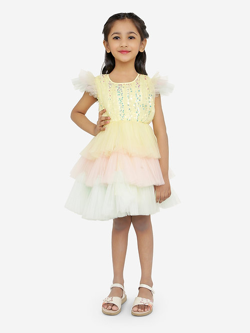 Girls Flared Party Dress-Multicolored