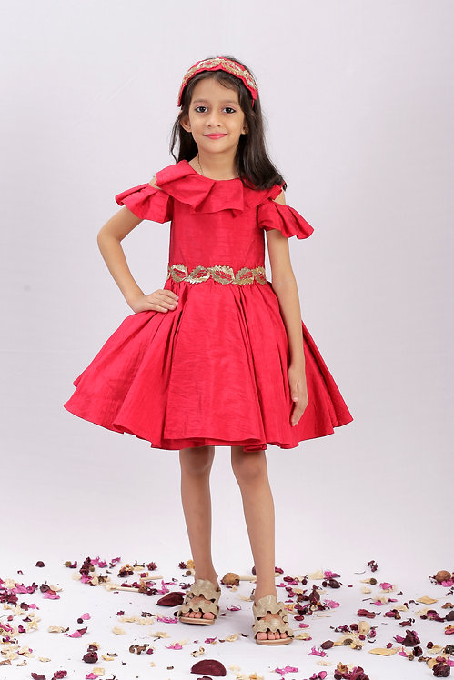 Red Frock with Leaf Embroidery