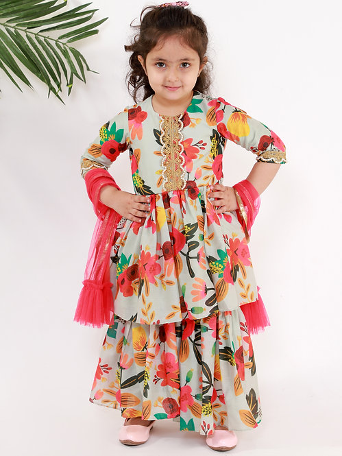 Tropical Print Sharara Set