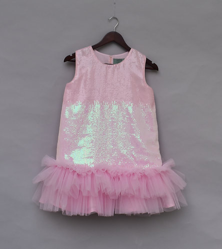 Baby Pink Soft Sequence Dress