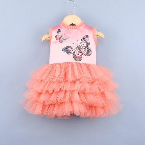 Flying Butterfly Peach Dress