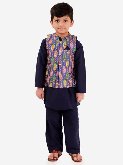 Boys Kurta Pyjama with Jacket Set-Navy Blue