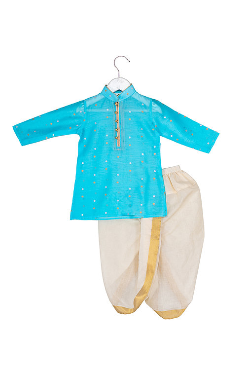 RS-Printed Kurta and Dhoti Set Polka Sky Blue