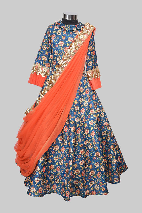 Blue Printed Ghaghra