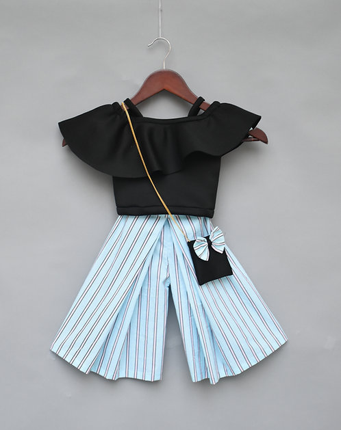 Black Crop Top with Stripe Plazo Set