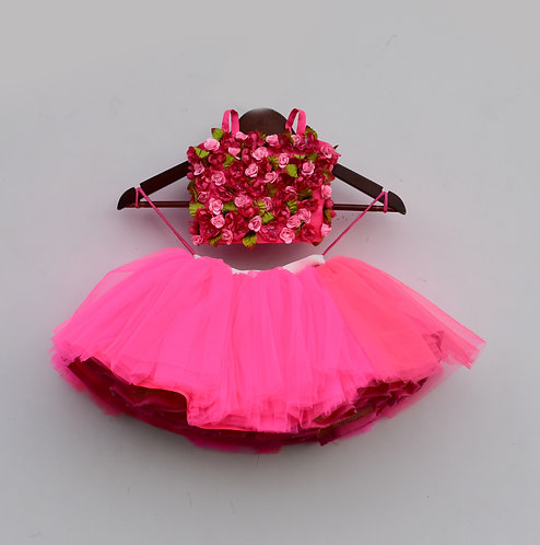 Hot Pink Tutu Skirt with 3D Flowers Top