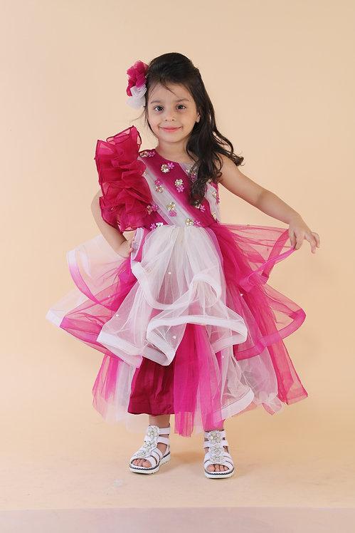 Dark Pink One Shoulder Dress