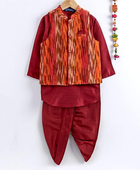 Kurta Dhoti With Jacket Set- Orange