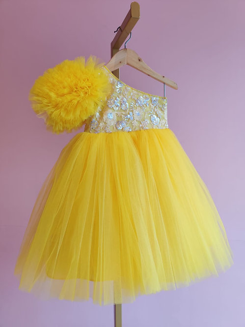 Yellow Flower Sleeve Gown