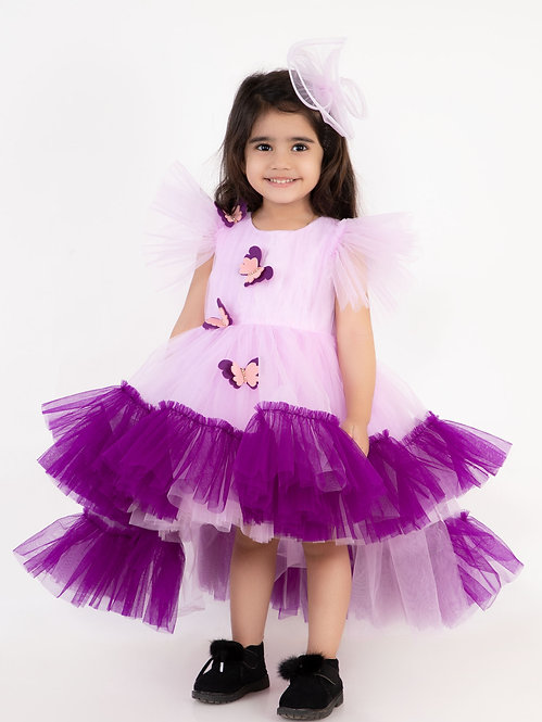 Lilac Butteryfly High Low With Hair Accessory