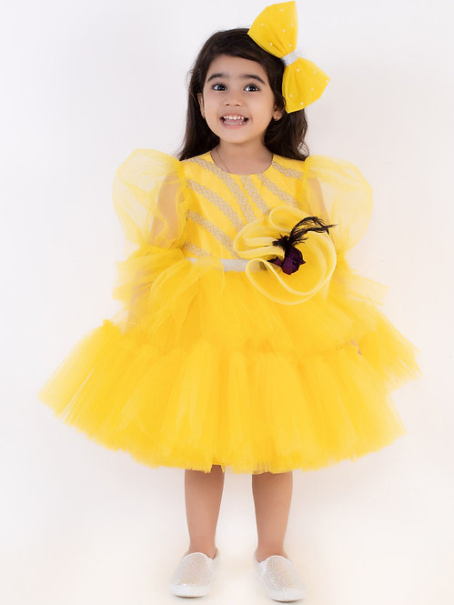 Yellow Tiered Net Dress With Accessory
