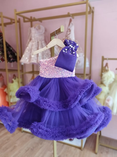 Purple Ruffle Gown With Bow
