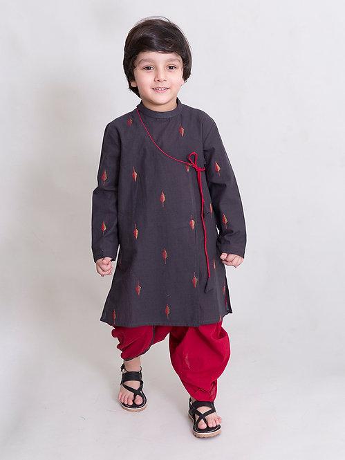 Boys Charcoal Leaf Dhoti Kurta Set