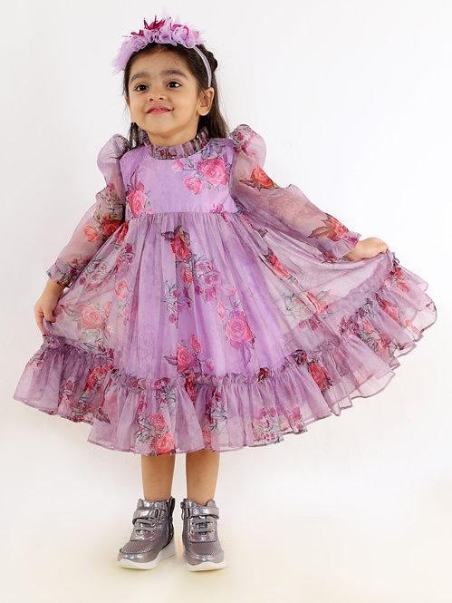 Purple Printed Vintage Floral Dress