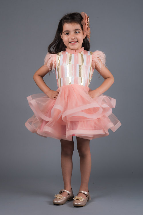 Angelica Sequins Feather Dress