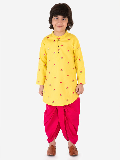 boys embroidered kurta with dhoti set- Yellow