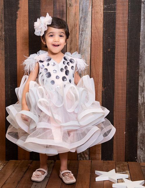 Pink Grey Mettalic Dress