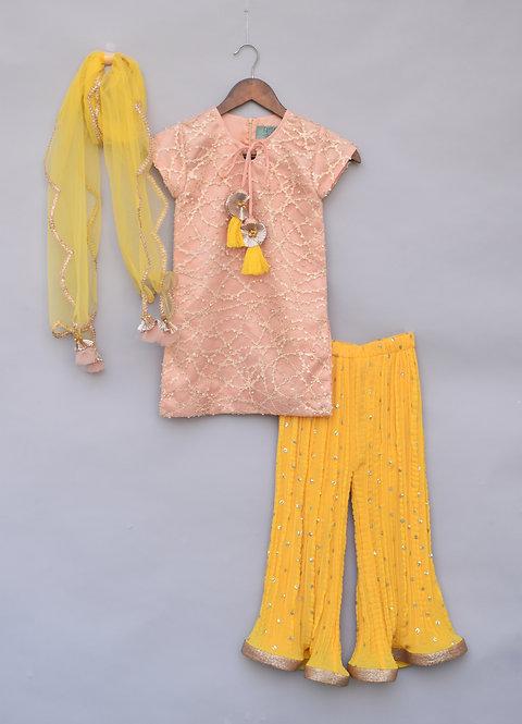 Peach Embroidery Kurti with Yellow Sharara