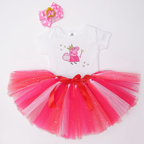 Half Sleeves PIG Patch Detailed Onesie With Tutu Skirt &  Bow Headband - White &