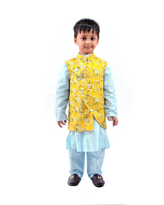 Yellow Printed Bandi with Blue Kurta se