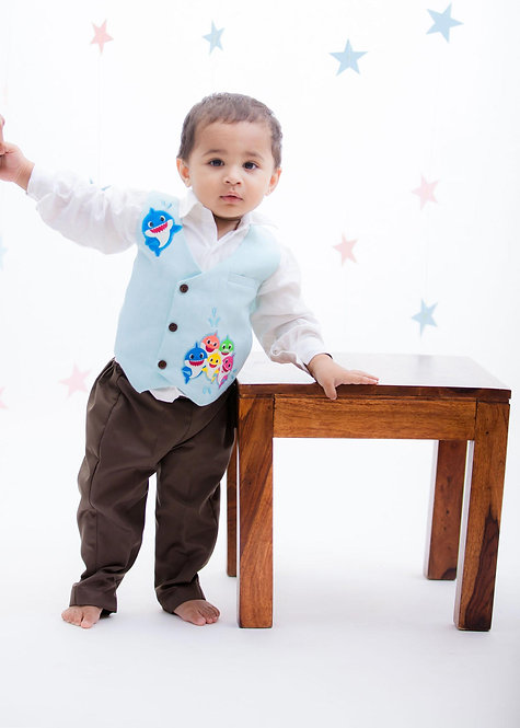 White Shirt with Brown Pant & Fish Print Waist Coat