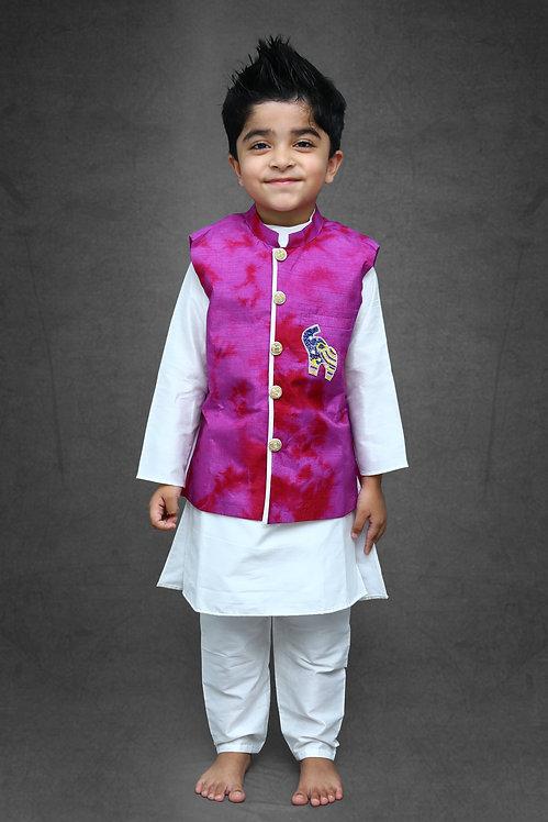 Tie and Dyed 3 piece Purple Kurta set