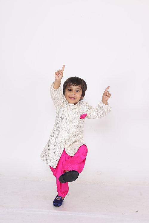 OffWhite Kurta With Pink Dhoti