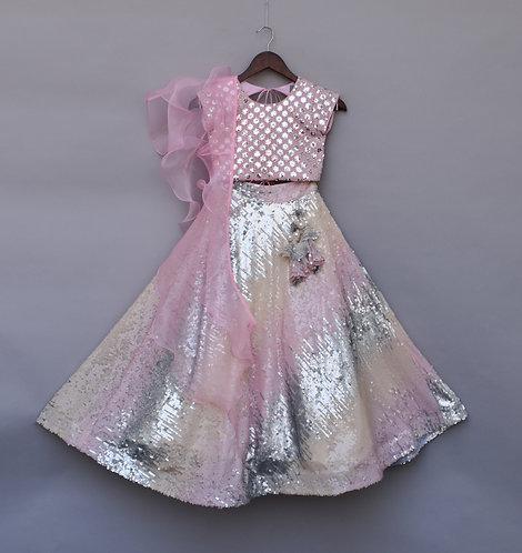 Pink Silver Sequence Choli with Pink High Waist Lehenga