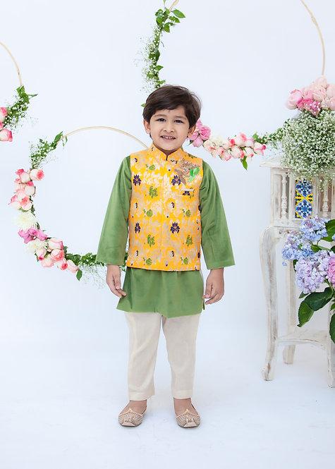 Yellow Brocade Jacket with Kurta Pant