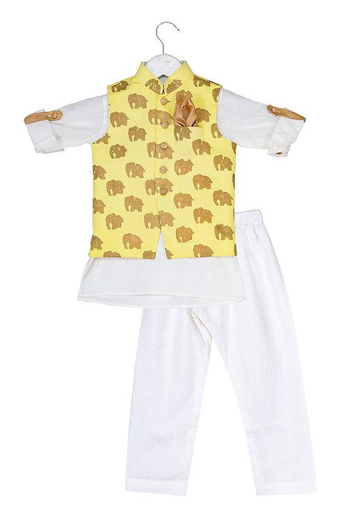 Printed Jacket and Kurta Dhoti Ele Set Yellow