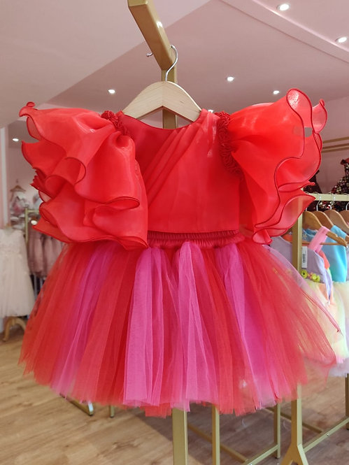Red Pink Top with Tutu Skirt