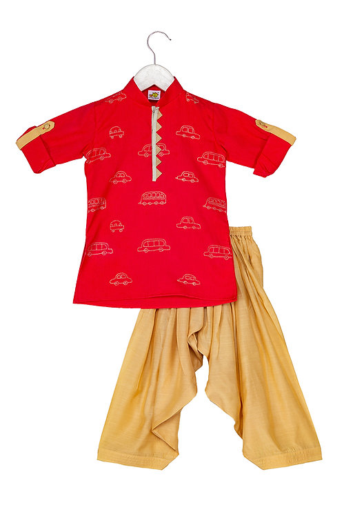 RS-Transport Red Embroidered kurta and patiala set