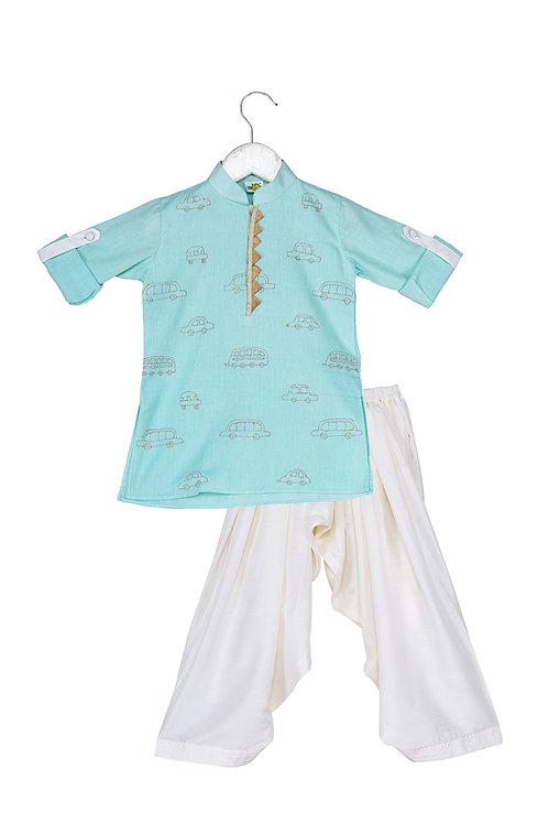 Transport Mint Embroidered kurta and patiala set
