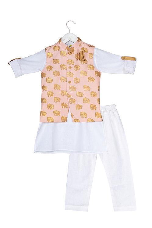 RS-Printed Jacket and Kurta Dhoti Ele Set Pink