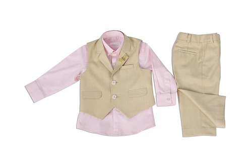 Beige Waistcoat Set With Pink Shirt