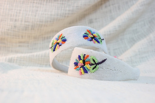 White Beads Multicolour Flower Headband