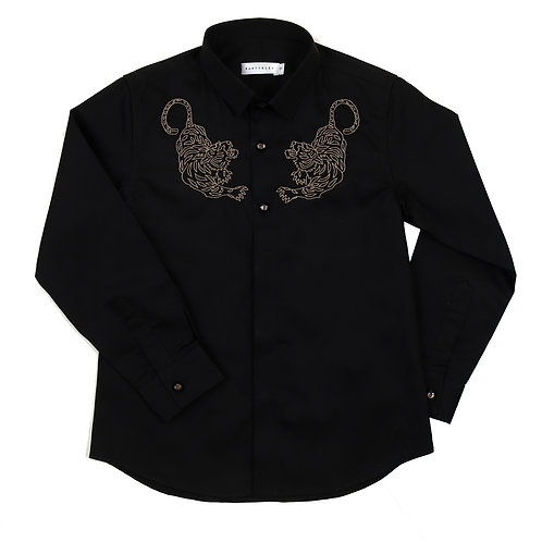Tiger Embroidered Black Shirt