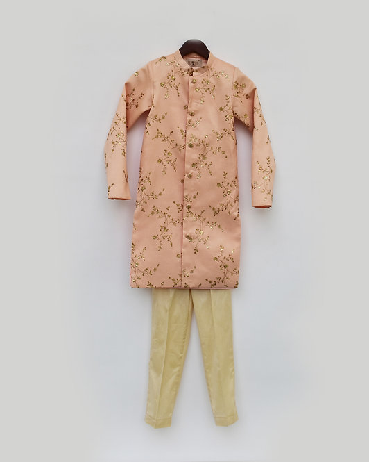 Peach Embroidery Ajkan with Beige Pant