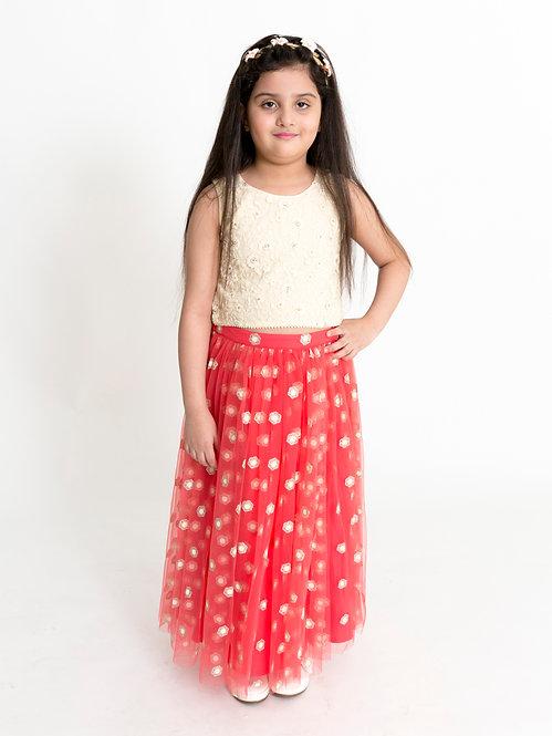 Stylish Girls Ghaghra Choli Set-Off White