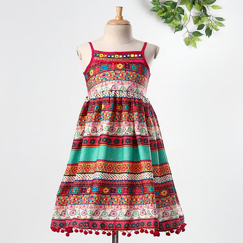 Girls Printed Rayon Tiered Dress-Multicolored