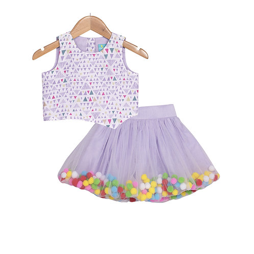Pompom Rapunzel Skirt Set