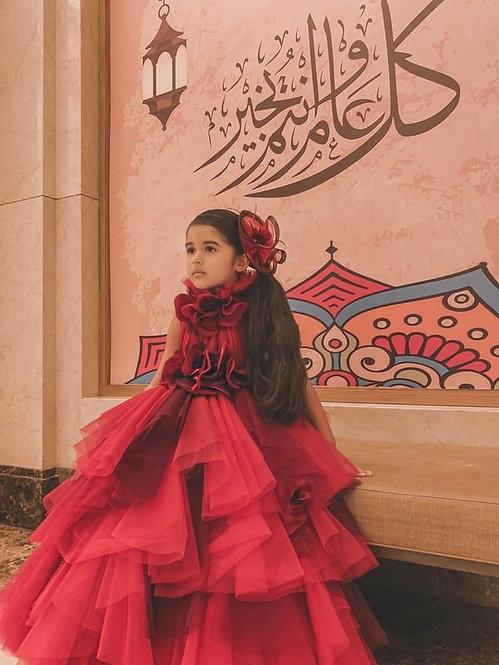 Red Net Hankie Gown