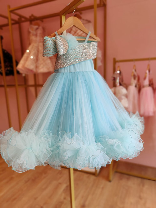 RS-Sky Blue Glitter Off Shoulder Gown