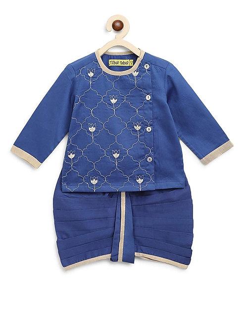 Baby Boy Blue Jaal Dhoti Set