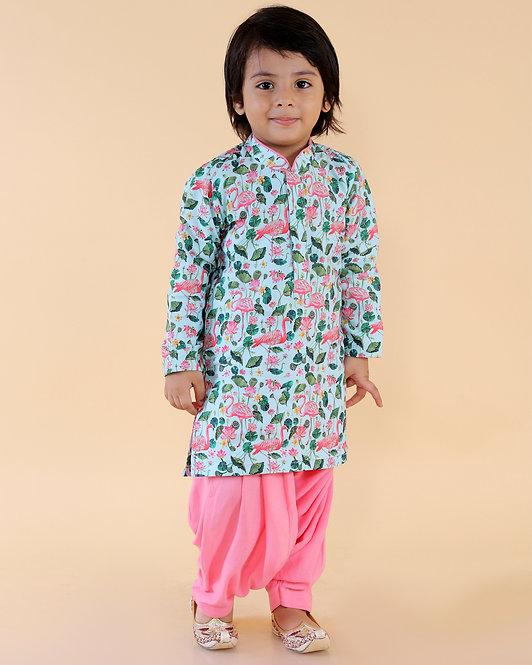 Floral Print Kurta With Pink Patiala Set