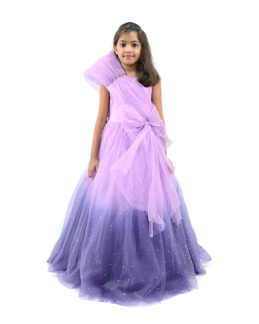 Purple Shaded Stone Work Gown
